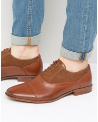 Asos Oxford Shoes In Tan Faux Leather And Faux Suede