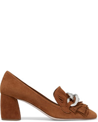 Fringed suede pumps tan medium 708932