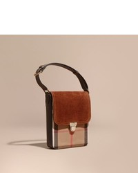 Burberry The Small Satchel In English Suede And House Check