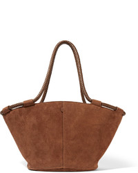 Market small leather trimmed suede tote brown medium 629251