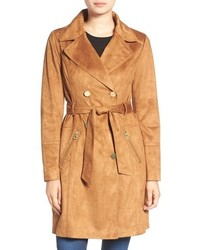 Faux suede double breasted trench coat medium 815022