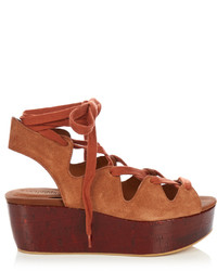 See by chlo lace up suede platform sandals medium 1052403