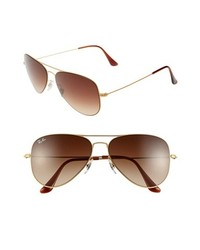 Ray-Ban 58mm Steel Aviator Sunglasses Brown One Size