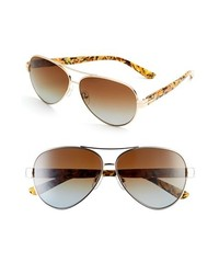 Tory Burch 59mm Aviator Sunglasses Gold Brown Gradient One Size