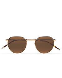 Dick Moby Agadir Round Frame Gold Tone Sunglasses