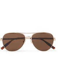 Montblanc Aviator Style Gold Tone Polarised Sunglasses