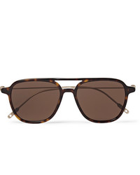 Montblanc Navigator Aviator Style Tortoiseshell Acetate And Gold Tone Sunglasses