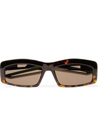 Balenciaga Rectangle Frame Tortoiseshell Acetate Sunglasses