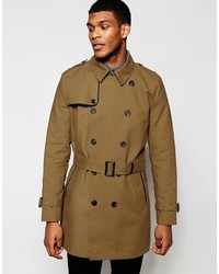 Asos Brand Shower Resistant Double Breasted Trench In Tobacco