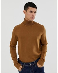 KIOMI Polo Neck Jumper In Tan