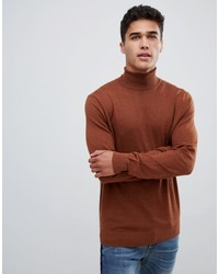 Burton Menswear Roll Neck Jumper In Caramel
