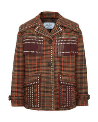 Prada Leather Trimmed Studded Checked Wool Blend Tweed Jacket