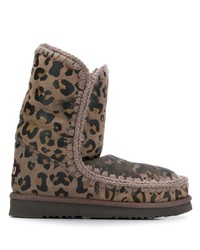 Mou Animal Print Eskimo Ankle Boots