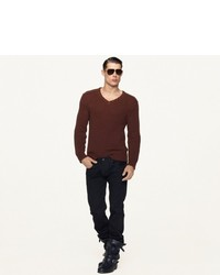 Ralph Lauren Black Label Denim Cotton Linen V Neck Sweater