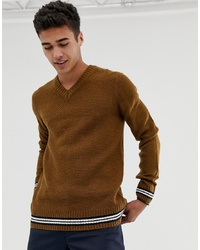 New Look V Neck Jumper With Tipping Detail In Tan