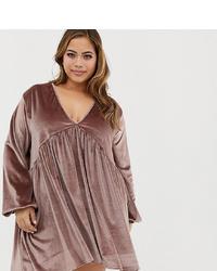 Rokoko Plus Smock Dress In Velvet