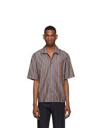 Brown Vertical Striped Short Sleeve Shirt
