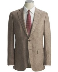 Brown Vertical Striped Suit