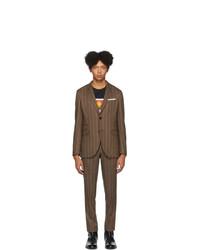Brown Vertical Striped Wool Suit