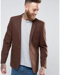 Skinny blazer in dark tan wool mix medium 849266