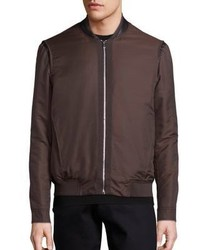 Brown Wool Bomber Jacket