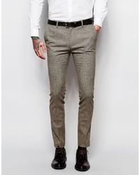 Asos Brand Super Skinny Suit Pants In Dogstooth In Brown