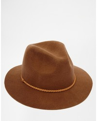 Asos Brand Fedora Hat In Brown Felt With Braid Band