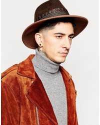 Asos Brand Wide Brim Fedora Hat In Brown Felt With Geo Tribal Print Band
