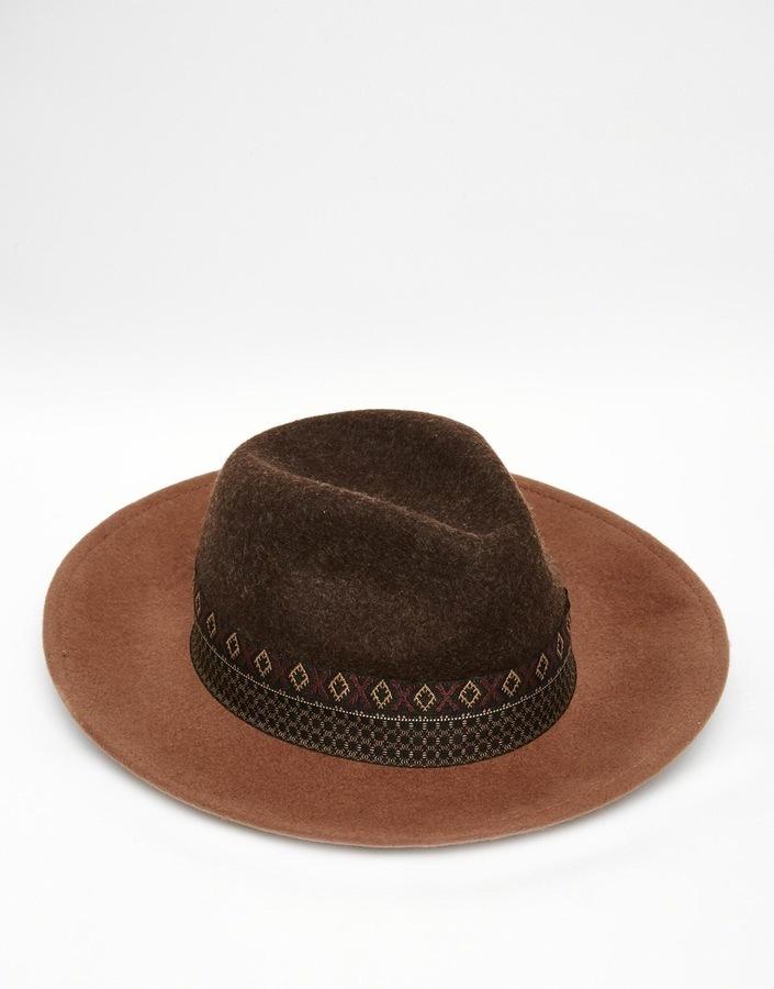 Asos Brand Wide Brim Fedora Hat In Brown Felt With Geo Tribal Print Band