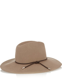 Emilio Pucci Leather Trimmed Merino Wool Felt Fedora