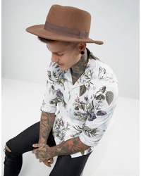 ASOS DESIGN Pork Pie Hat In Camel With Diamond Crown