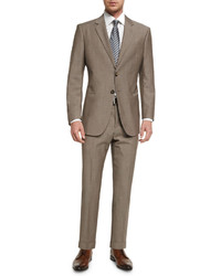 Giorgio Armani Taylor Solid Sharkskin Two Piece Wool Suit Tan