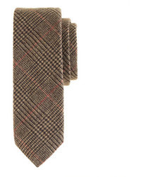 J.Crew English Wool Tie In Yorkshire Brown Glen Plaid