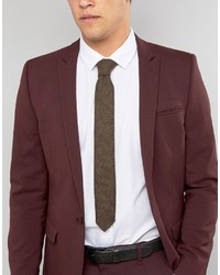 Asos Slim Tie In Wool Mix With Colored Neps And Frayed Edge