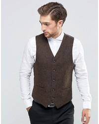 Feraud Heritage Premiun Wool Brown Herringbone Vest
