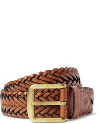 4cm brown woven leather belt medium 705382