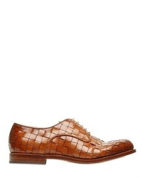 Brown Woven Leather Derby Shoes