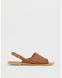 Brown Woven Leather Flat Sandals