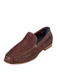 Brown Woven Leather Loafers
