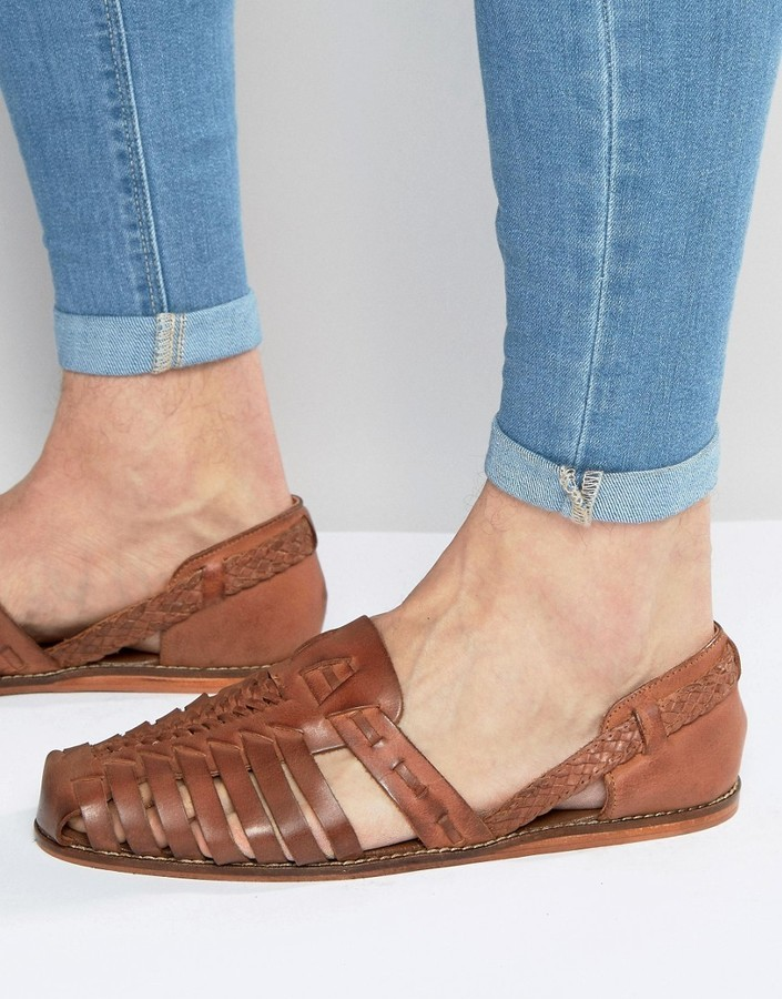 4d1946272cab ... Asos Brand Woven Sandals In Tan Leather ...