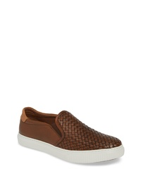 Brown Woven Leather Slip-on Sneakers