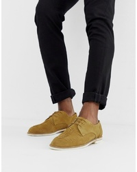 H By Hudson Chatra Woven Lace Up Shoes In Camel Suede