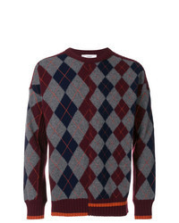 Burgundy Argyle Crew-neck Sweater