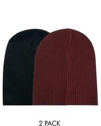 Asos Slouchy Beanie Hat 2 Pack Black Burgundy