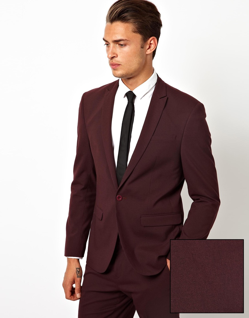 Asos Skinny Fit Suit Jacket In Burgundy | Where to buy & how to wear