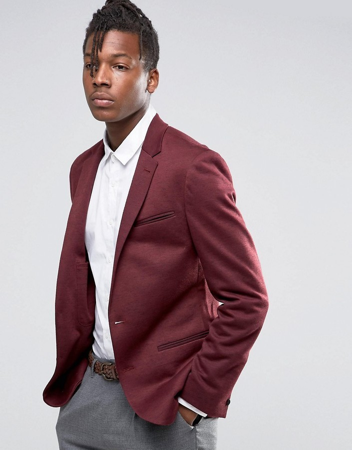 Asos Super Skinny Jersey Blazer With Fleck Detail In Burgundy ...