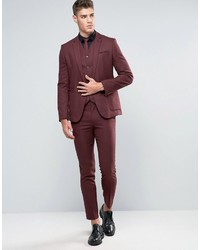 Asos Wedding Skinny Suit Jacket In Burgundy Micro Texture | Where ...