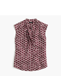 J.Crew Petite Tie Neck Top In Retro Chainlink