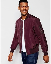 500e8846d Men's Burgundy Bomber Jackets by Asos | Men's Fashion | Lookastic UK