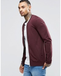 Asos Brand Muscle Fit Jersey Bomber Jacket In Burgundy